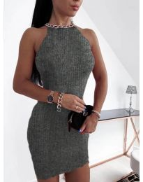 Дамска рокля в тъмно сиво - код 9690