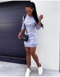Дамска рокля с колан в сиво - код 165