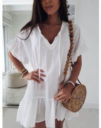 Свободна рокля в бяло - код 559