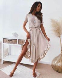 Атрактивна дамска рокля в бежово - код 11893