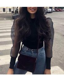 Блуза в черно с тюлени дълги ръкави - код 3460