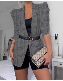 Дамско елегантно сако на каре в сиво - код 680