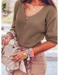 Дамски пуловер в кафяво - код 1099