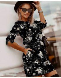 Стилна рокля с ефектен десен - код 3060 - 2