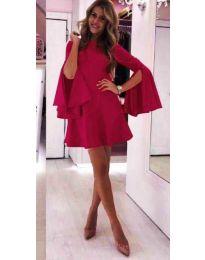 Елегантна рокля в бордо с ефектни ръкави - код 826