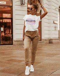 Дамска тениска в бяло с принт - код 2939 - 4
