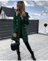 Дълго дамско палто в зелено - код 189