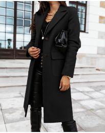 Дълго дамско палто в черно - код 3435