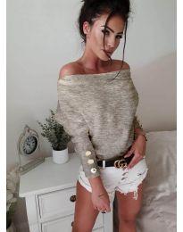 Дамска блуза в бежово - код 3732