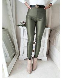 Втален дамски панталон в масленозелено - код 2789