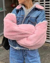 Дамско яке с ефектни ръкави в розово - код 2885