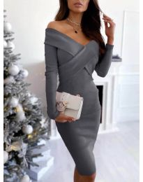 Елегантна рокля в сиво - код 6130