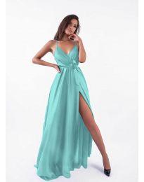 Дълга рокля с цепка в цвят тюркоаз - код 5500