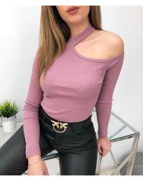Дамска блуза в цвят пудра - код 8570