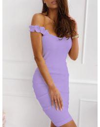 Дамска рокля с ефектни презрамки в светло лилаво - код 029