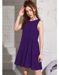 Свободна изчистена рокля в тъмно  лилаво - код 4471