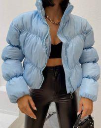Късо дамско яке в светлосиньо - код 0017