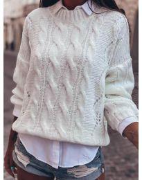 Дамски пуловер в бяло - код 8780