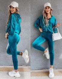Спортен дамски комплект в цвят тюркоаз - код 7034