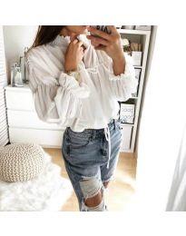 Дамска риза с набори и връзки в бяло - код 892