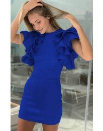 Дамска рокля в синьо с набрани ръкави - код 939