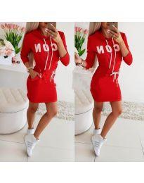 Спортна рокля с качулка в червено - код 290