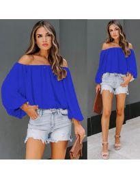 Дамска блуза с лодка деколте в тъмно синьо - код 6674