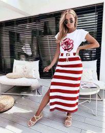 Дамска рокля с атрактивен десен в червено  - код 0232
