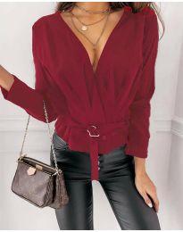 Атрактивна дамска блуза в цвят бордо - код 5525