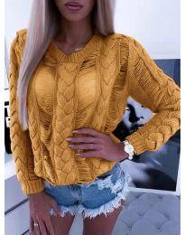 Ефектна плетена блуза в цвят горчица - код 363
