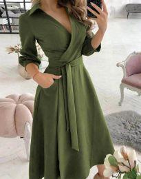 Елегантна дамска рокля в масленозелено - код 2861