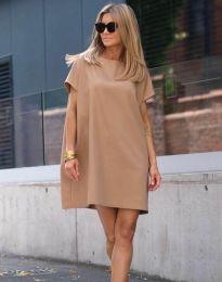 Свободна рокля в цвят капучино - код 6332