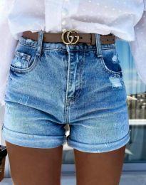 Къси дамски дънки с ефектен джоб в синьо - код 4503