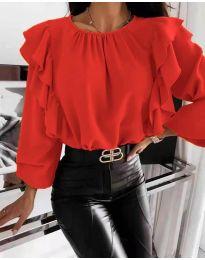 Ефектна дамска блуза в червено - код 4445