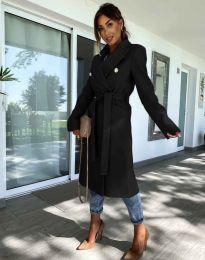 Дълго елегантно дамско палто с колан в черно - код 6429