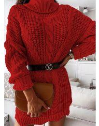 Дамска рокля в червено - код 6071