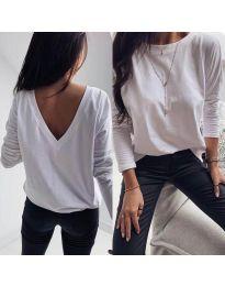Бяла дамска блуза с изрязан гръб - код 3376