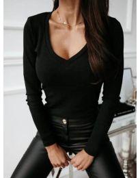 Черна изчистена дамска блуза - код 3521