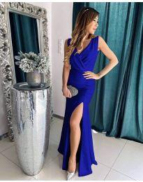 Дълга рокля с цепка в тъмно синьо - код 1419