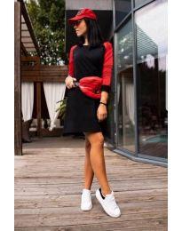 Спортна рокля в черно и червено - код 216