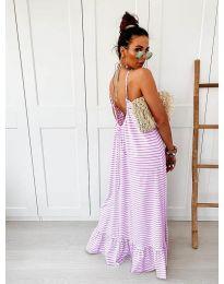 Дълга рокля с лилаво райе - код 0560