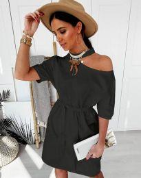 Дамска рокля в черно с голо рамо - код 5848