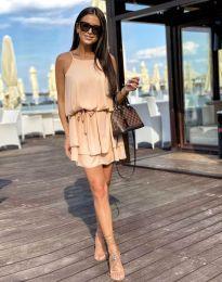 Ферична рокля в бежово - код 2104