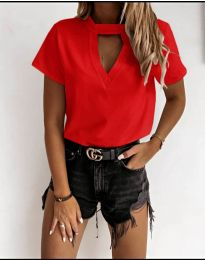 Дамска изчистена тениска в червено - код 3597