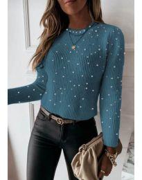 Дамска блуза в цвят тюркоаз - код 419