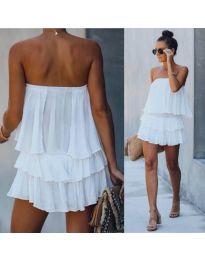Свободна рокля в бяло - код 0489