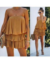 Свободна рокля в  цвят горчица - код 0489