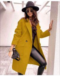 Дамско палто в жълто  - код 7278