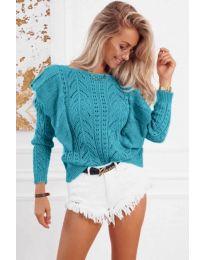 Ефектна плетена блуза в тюркоаз - код 5321