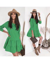 Рокля с дълъг ръкав в зелен цвят - код 8486